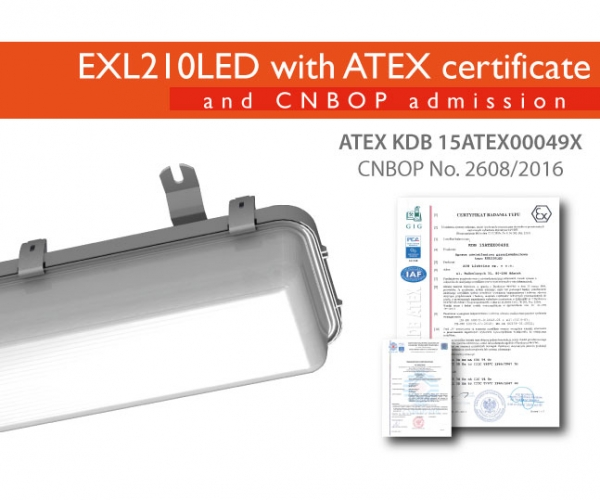 EXL210LED with CNBOP admission and ATEX certificate